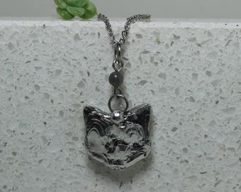 Kitten pendant Cat pendant soldered jewelry Silver tone