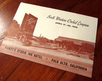 1958 Program for the Sixth Western Orchid Congress at Ricky's Studio Inn Palo Alto California Ephemera
