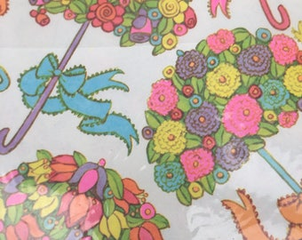 Gift wrap by Sears all occasion wrapping paper new in package 1970's 2 sheets umbrellas flowers bows shower gift for her baby wedding NIP