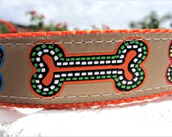 "Dog Collar Gourmet Dog Bones 1"" wide Side Release buckle adjustable - No martingale limited ribbon - S - XL"