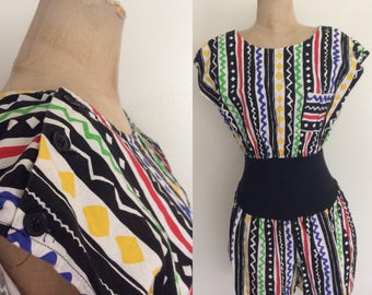 1980's Geo Abstract Cotton Romper w/ Pockets Rainbow Colored Onesie Size Small Medium Large by Maeberry Vintage