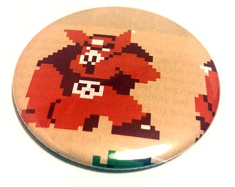 Handmade POCKET MIRROR made using recycled magazines -Old Ganon- 2.25 inches - OOAK - One of a Kind