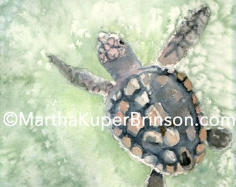 Sea turtle art watercolor giclee print, 8x10 inches in white 11x14 matte, birthday gift, on Hahnemuhle Museum Etching Fine Art Paper