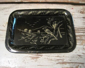 Small Metal Black and Gold Tray