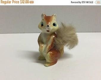 Sale Vintage Chipmunk Figurine Fluffy Fur Tail Chipmunk Made in Japan