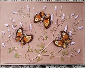 "Mid century / 8 1/4"" x 11""/ retro / ceramic / plaque / wall decor / seramic wall hanging / wall plaque / butterfly from Jie, Sweden"
