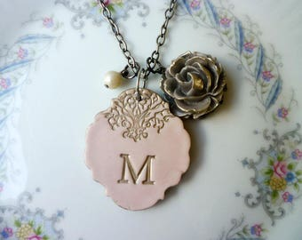 Mother of the Groom, Mother of the Bride, Wedding Jewelry, Big Long Stamped Initial Necklace