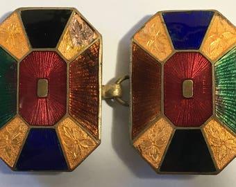 Vintage Guilloche Enamel Belt Buckle