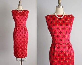 50's Cheongsam Dress // Vintage 1950's Red Silk Brocade Cheongsam Cocktail Party Wiggle Dress XS