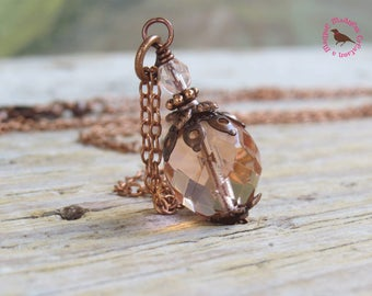 Morganite Pink Pendant Copper Necklace, Pale Pink Czech glass Pendant in antiqued copper,  by MagpieMadness for Etsy