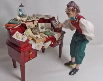 Dollhouse Miniature Filled Desk Birds, nests books and scrolls Museum / oollector Desk