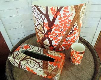 Bathroom Waste Can. Tissue Box Cover. Bathroom Tumbler. 4pc Matching Set. Woodland Decor. Cabin Decor. Autumn. Earth Tones