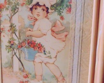 NURSERY PRINT. Little Girl. in. GARDEN. framed. print. 8 x 6 inches. Vintage. 1930s. childrens room. picture. little girls room.