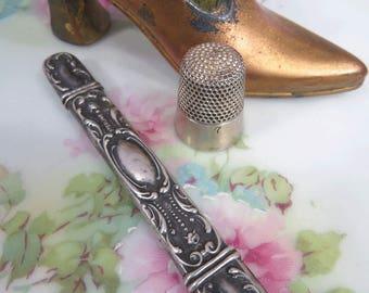 Antique Sterling Silver Needle Case Holder Ornate Floral Repousse Design Art Nouveau