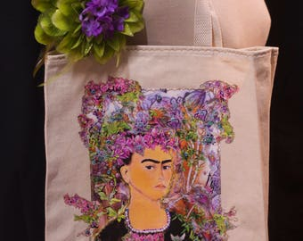 Frida, in the flowers, Garden floral,  Canvas Tote Bag with Appliqué