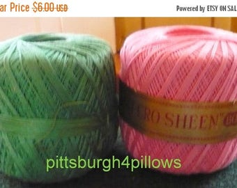 CHRISTMAS IN JULY 3 -J.P. Coat's - Knit Cro Sheen - 175 Yds. - Boilfast - Rose, Forest Green & Varigated Green - Price Is For All - Guessing