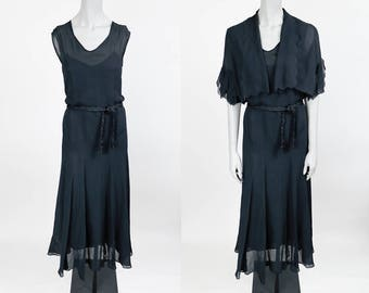 Vintage 30s Dress / 1930s Black Silk Crepe de Chine Maxi Dress with Flutter Bolero M