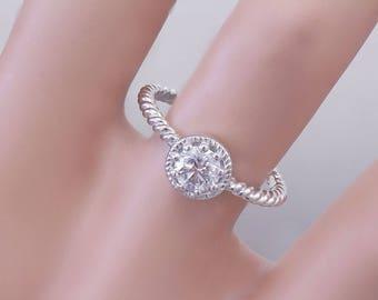 14K White Gold Round Cut Diamond Engagement Ring Braided Prong Set Deco Wedding, Anniversary, Halo, Prong Set, Natural 0.50ctw