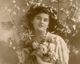 Antique EAS Real Photo Postcard Pretty Lady with Armload of Flowers Sweet Blossoms Verse 1912 E A Schwerdtfeger