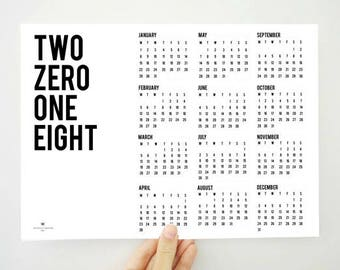 Printable Calendar Two Zero One Eight, 2018 Calendar, Yearly Calendar, Wall Calendar, 2018 Planner, Digital Calendar, PDF Calendar, Wall Art