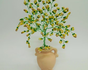 Green and yellow tree,wire tree sculpture,green beaded tree,weeping willow tree , bonsai tree, tree of life , feng shui tree , desk decor
