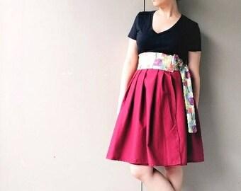 Merlot: Wine Print and Red Wrap Skirt