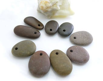 Top Drilled Dark Beach Stones 9 beads for Jewelry Design, Big Drilled Beach Pebbles, Unique Jewelry Supplies, Jewelry Making Set