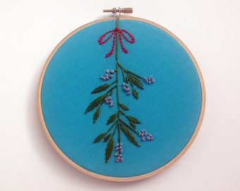 "Mistletoe by mlmxoxo.  embroidered 6"" hoop art.  winter season decor.  Christmas.  holiday.   aqua.  green.  silver.  red.  Free Shipping."