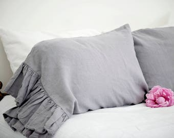 Gray Linen Ruffled Linen Pillowcase