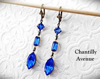 Sapphire Rhinestone Earrings, Blue Jewel Earrings, Victorian Earrings, Long Dangle Earrings, Victorian Jewelry