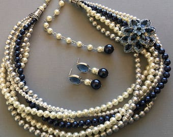 Navy Blue Necklace Set with Brooch and Earrings Night Blue Pearl Light Grey Ivory torsade multi strand Swarovski Pearls mother of the bride