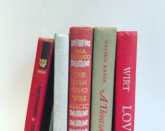 Vintage Red, Gray & Silver Books Instant Library Collection Decorative Books Photography Props