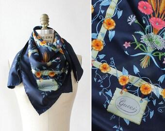 Gucci Floral Scarf •Vintage Gucci Silk Scarf • Floral Silk Scarf • Blue Silk Scarf • Square Silk Scarf • Gucci Scarf | GSC23