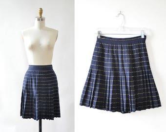 Valentino Mini Skirt XS • 80s Skirt • Pleated Mini Skirt • Vintage Skirt • High Waisted Skirt • 70s Skirt • Embroidered Gold Skirt | SK827