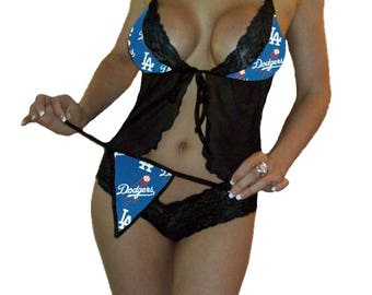 Los Angeles LA Dodgers MLB Lingerie Sexy Cami Top and Lace Booty Shorts Set Plus FREE Matching G-String - Size M/L - Ready to Ship