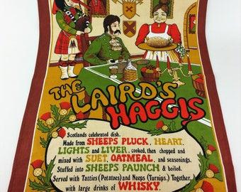 Vintage The Laird's Haggis Cotton Kitchen Tea Towel Made in Britain Souvenir