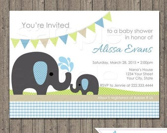 ON SALE Printable Elephant  Baby Shower Digital File