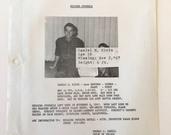 1967 Hippie Runaway Haight Ashbury  Police Bulletin 137 San Francisco Police Department SFPD  Mugshot