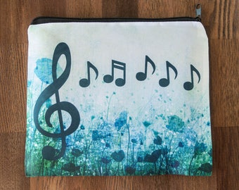 Music Notes and Treble Clef Themed Blue Cosmetic Bag