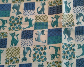 Kitty Cat Block Print in Blues and Greens Vintage Cotton Fabric 1 1/3 Yards