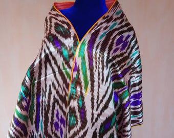 Uzbek vintage pure silk ikat fabric Han atlas 4.8 meters. VI037
