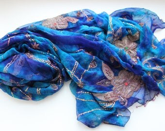 Indian vintage blue batik hand embroidered chiffon silk long dupatta scarf. Bohemian shawl, palantine. Blue silk stole. SCM017