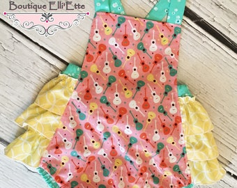 Ready to Ship 18M 24M Girls Retro Bubble Romper Sunsuit in Guitars with Ruffled Bum and Snap Crotch Closure Toddler Infant Girls