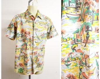 1950s Novelty holiday scene people print cotton shirt / 50s 60s White green orange Hawaiian printed summer day men's shirt - L