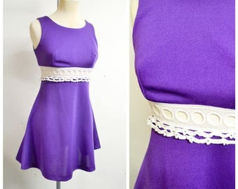 1960s Purple & white crochet midrif sleeveless party dress / 60s lace sheer waist flared skirt dress - XS