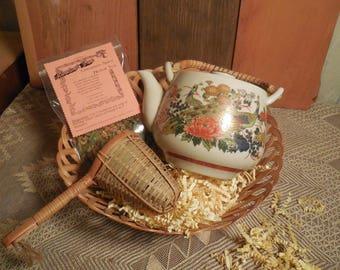 Japanese Style Peacock Tea Pot Gift Basket, ceramic teapot, scones, herbal tea, infuser, gift set, basket tray