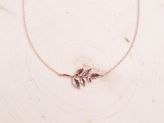 Dainty Rose Gold Tree Necklace