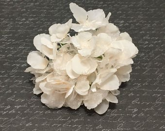 Hydrangea Head in Blush with Iridescent Layers- Artificial Flowers, Silk Flowers, Hair Accessories, Flower Crown, Wedding Flowers, Millinery