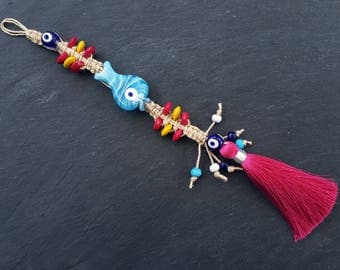 Fun Pink Blue Yellow Turkish Evil Eye Wall Hanging Home Garden Decoration with Fish Evileye Traditional Artisan Beads - No:11