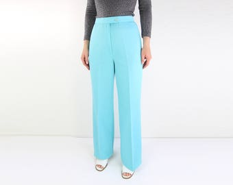 VINTAGE 1970s Pants Blue Trousers High Waist Turquoise